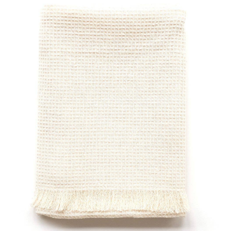 Natural Waffle Fringed Tea Towel