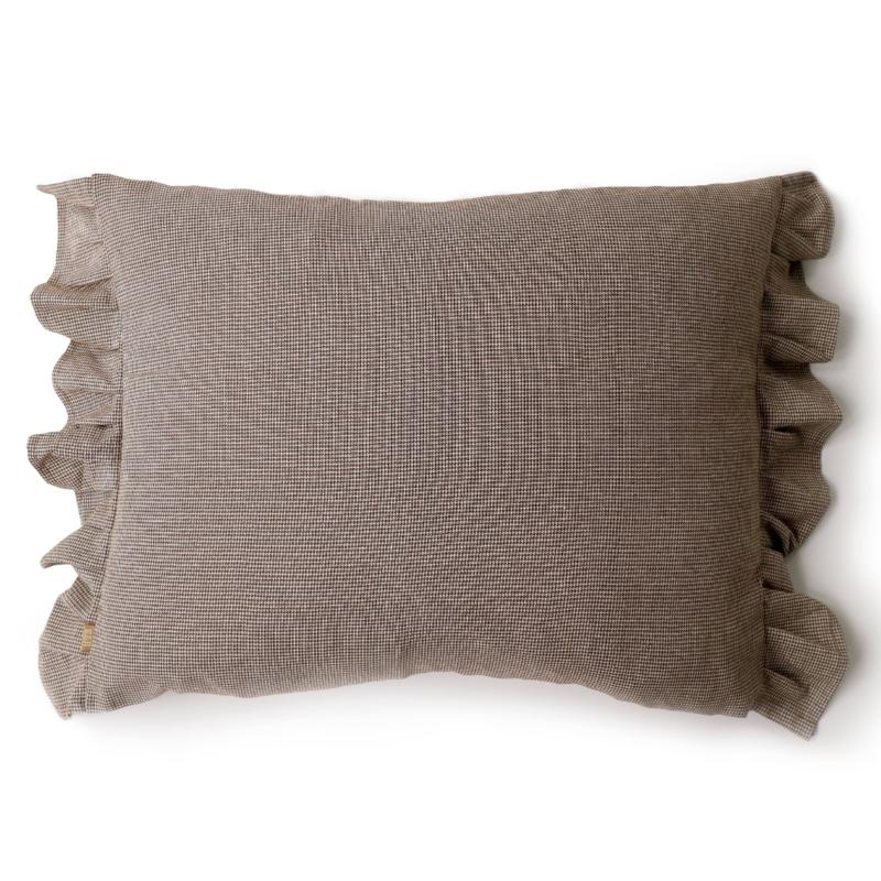 Mocha Check Frill Pillow