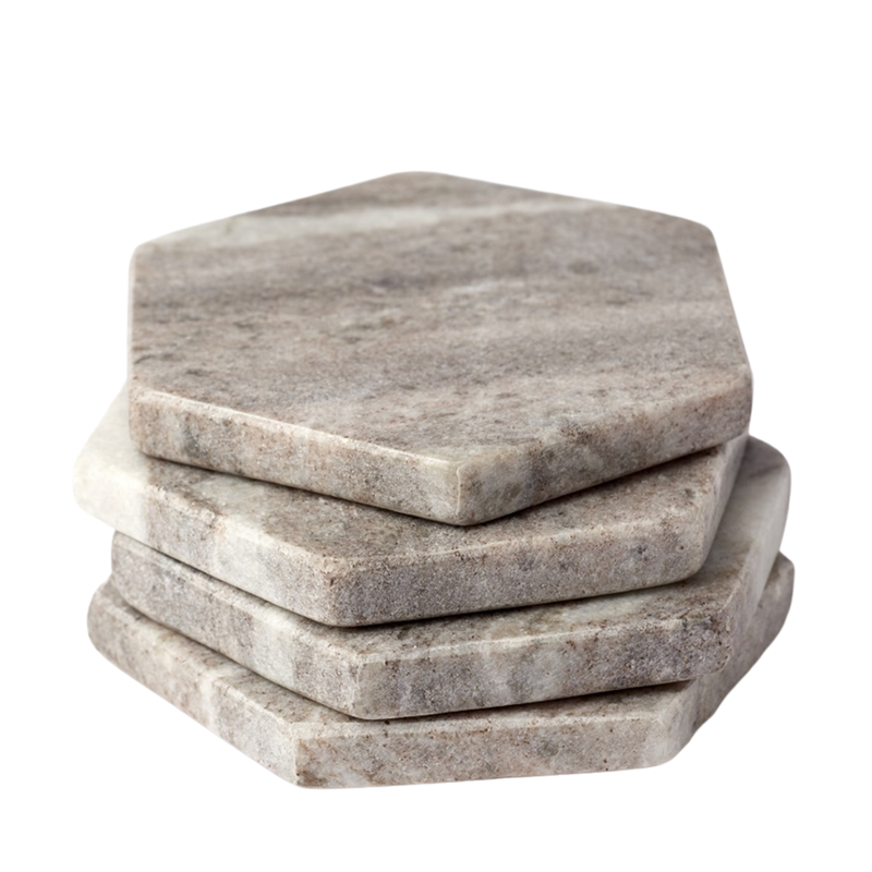 S/4 Galaxy Marble Hex Coasters