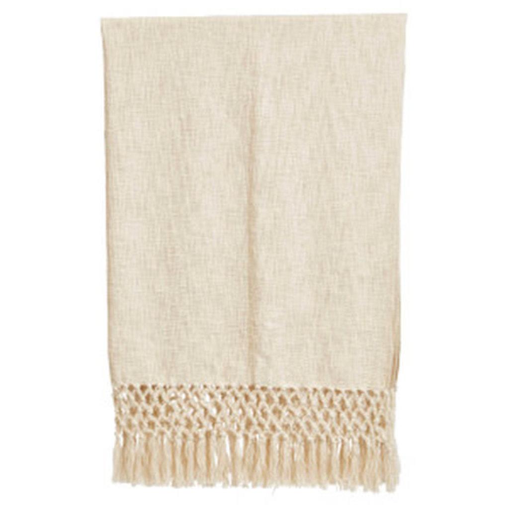 Cream Crochet Net Throw