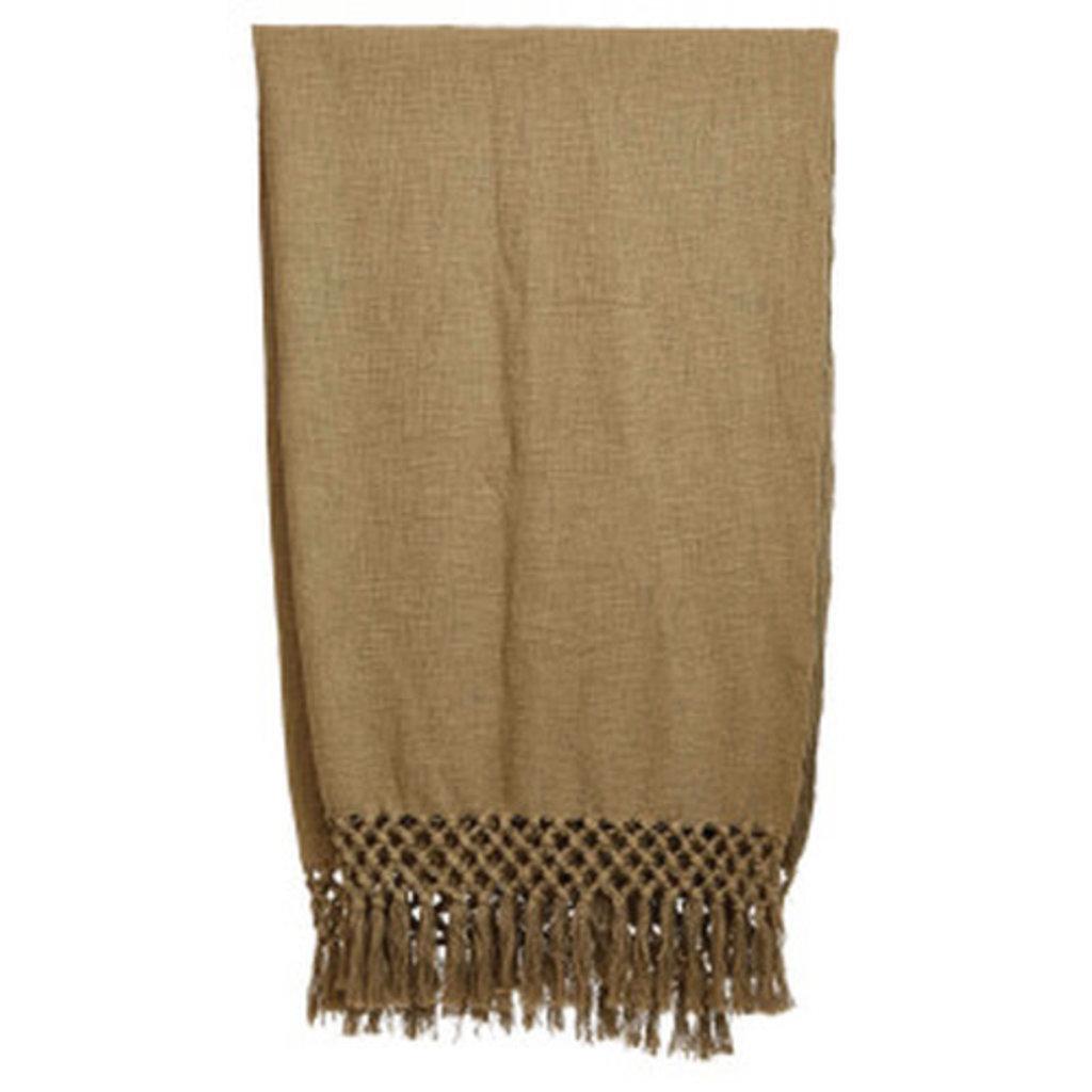 Olive Crochet Net Throw