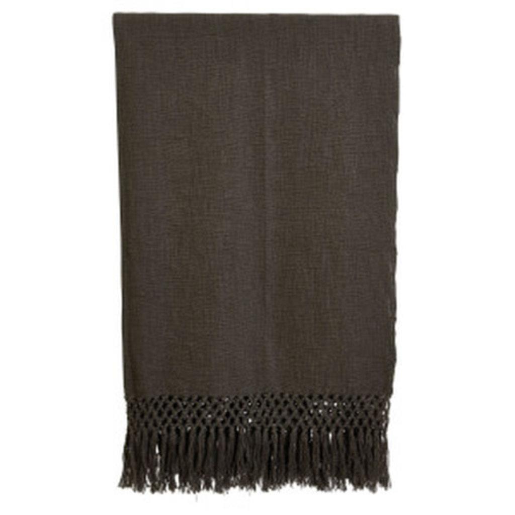 Charcoal Crochet Net Throw
