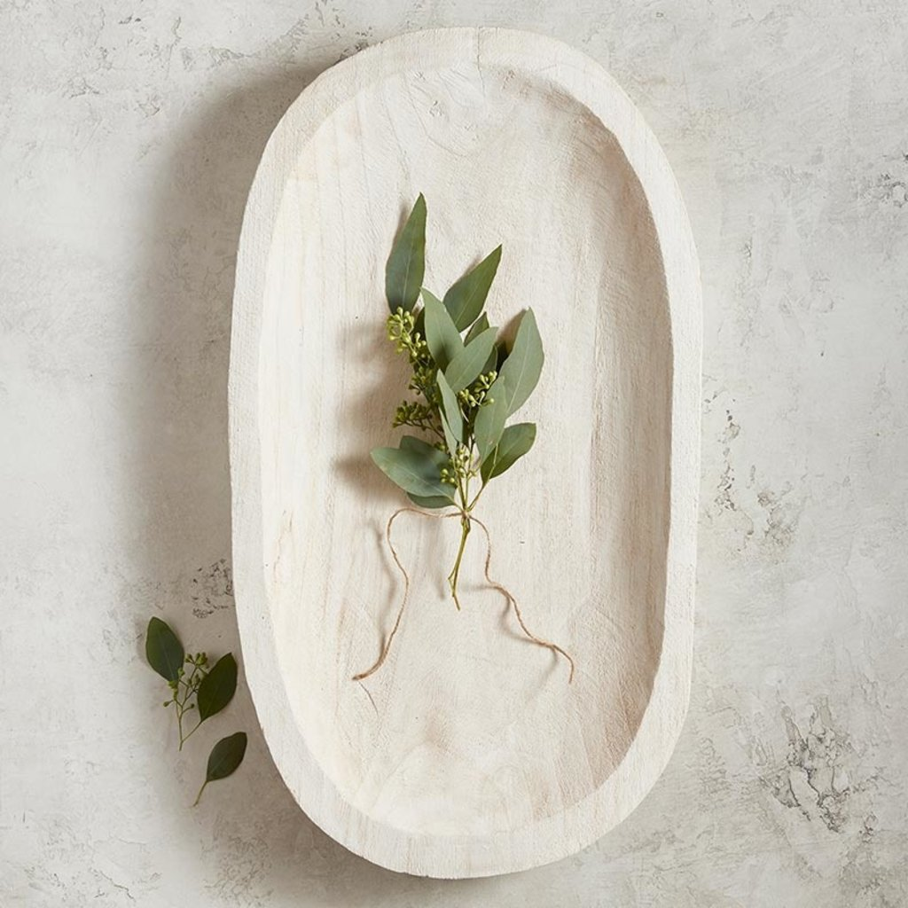 White Paulownia Dough Bowl