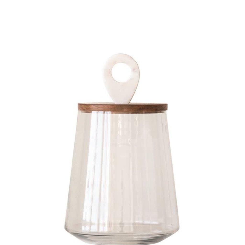 Wood & Marble Lidded Jar