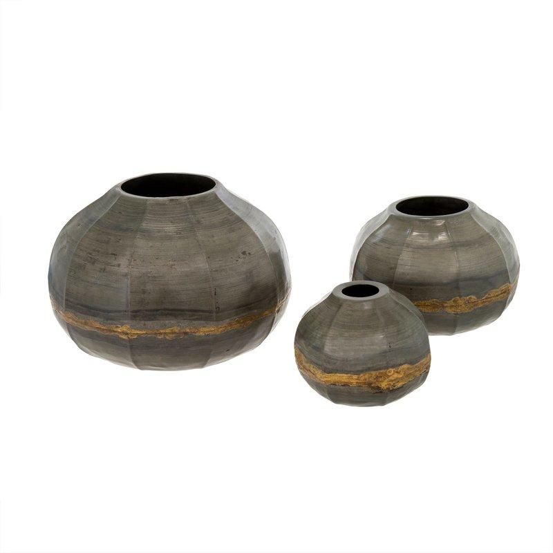 Galvanized Cobblestone Vases