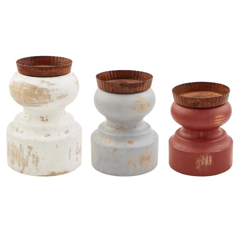 Distressed Painted Candlesticks
