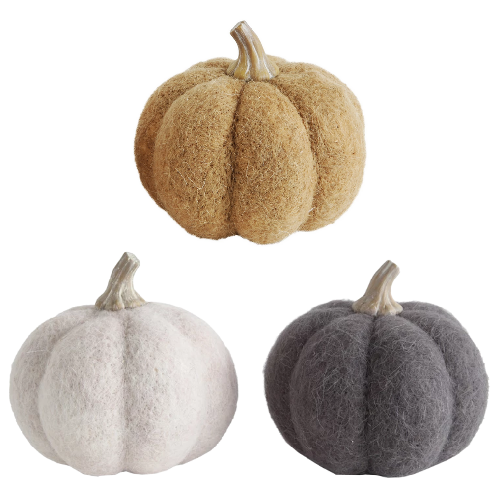 """5 1/2"""" Round Assorted Felt Pumpkins"""