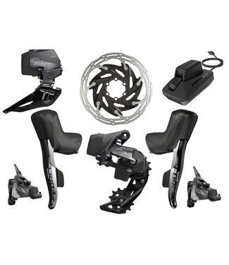 SRAM SRAM Force eTap AXS Electronic Road Groupset - 2x, 12-Speed, HRD Brake/Shift Levers, Flat Mount Disc Calipers, Front/Rear Derailleurs, D1
