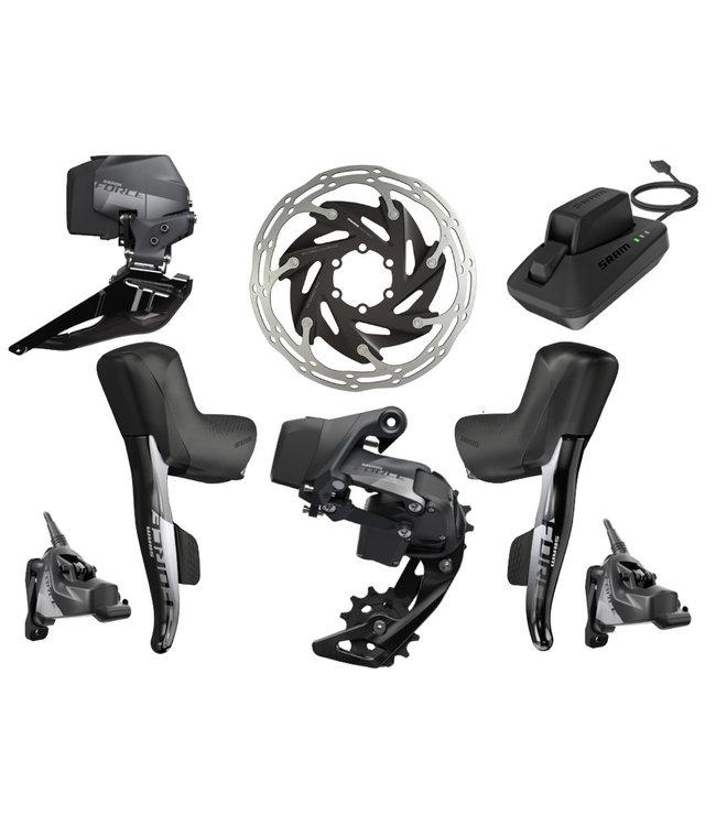SRAM SRAM Force eTap AXS Electronic Road Groupset - 2x, 12-Speed, HRD Brake/Shift Levers, Flat Mount Disc Calipers, Front/Rear Derailleurs, D1