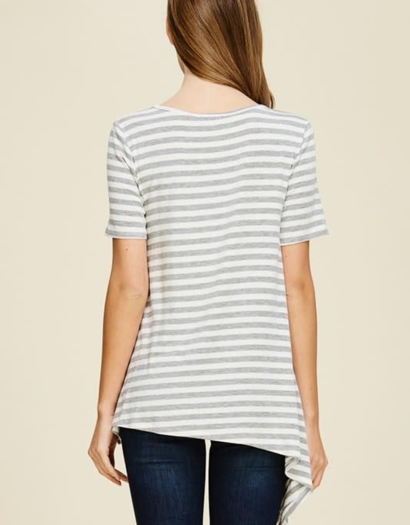 Ladies' Fashions Rayon Stripe S/S Top - Uneven Hem