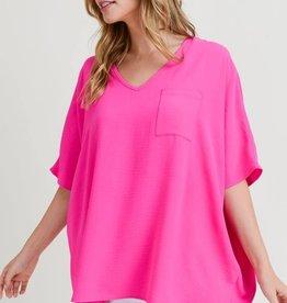 Ladies' Fashions Solid Boxy Pocket Top