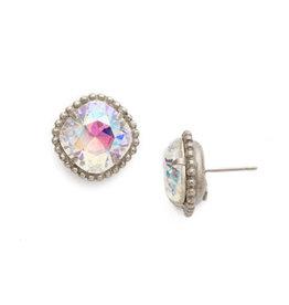 Sorrelli EBX10ASCAB - Crystal Aurora Borealis Cushion-Cut Solitaire Earring