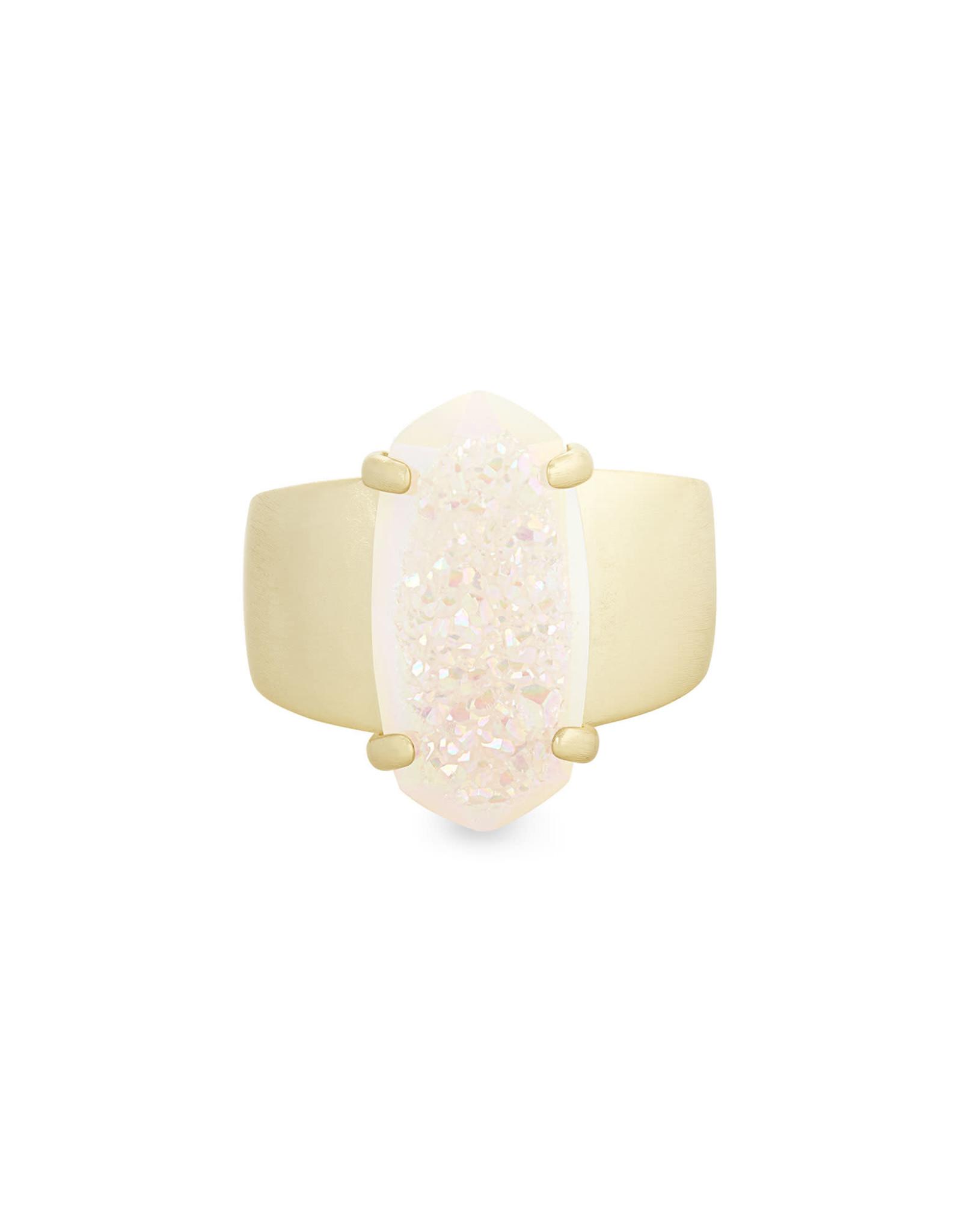 Kendra Scott Harrison Cocktail Ring - Iridescent Drusy/Gold Size 7