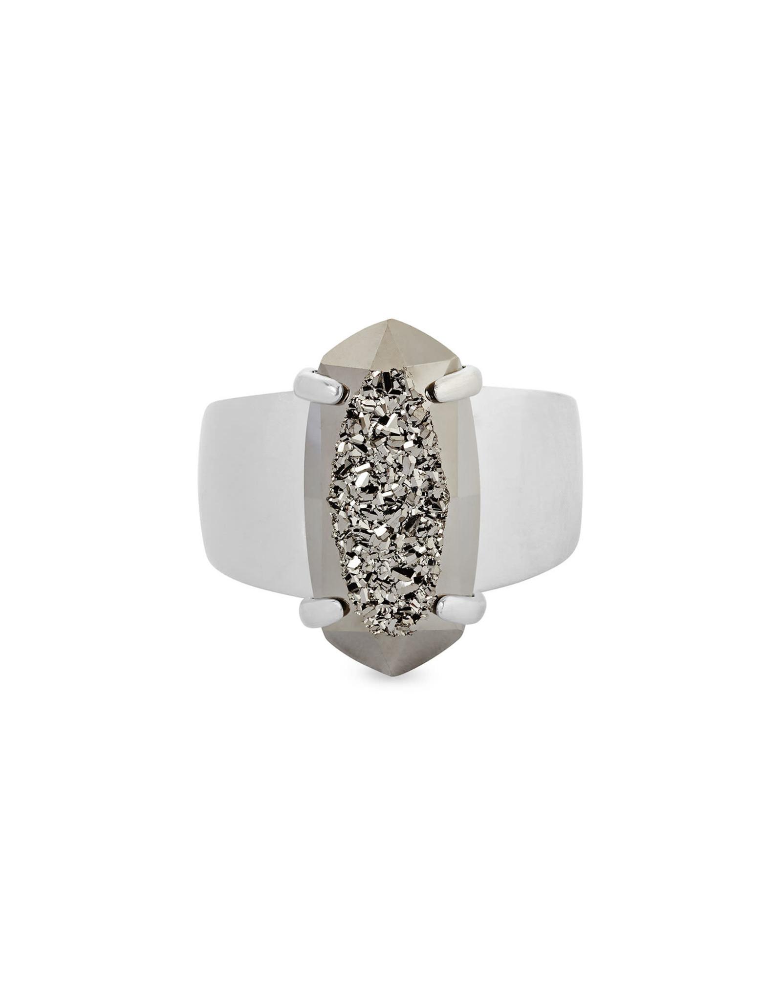 Kendra Scott Harrison Cocktail Ring - Platinum Drusy/Rhodium Size 7