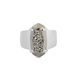Kendra Scott Harrison Cocktail Ring - Platinum Drusy/Rhodium Size 7