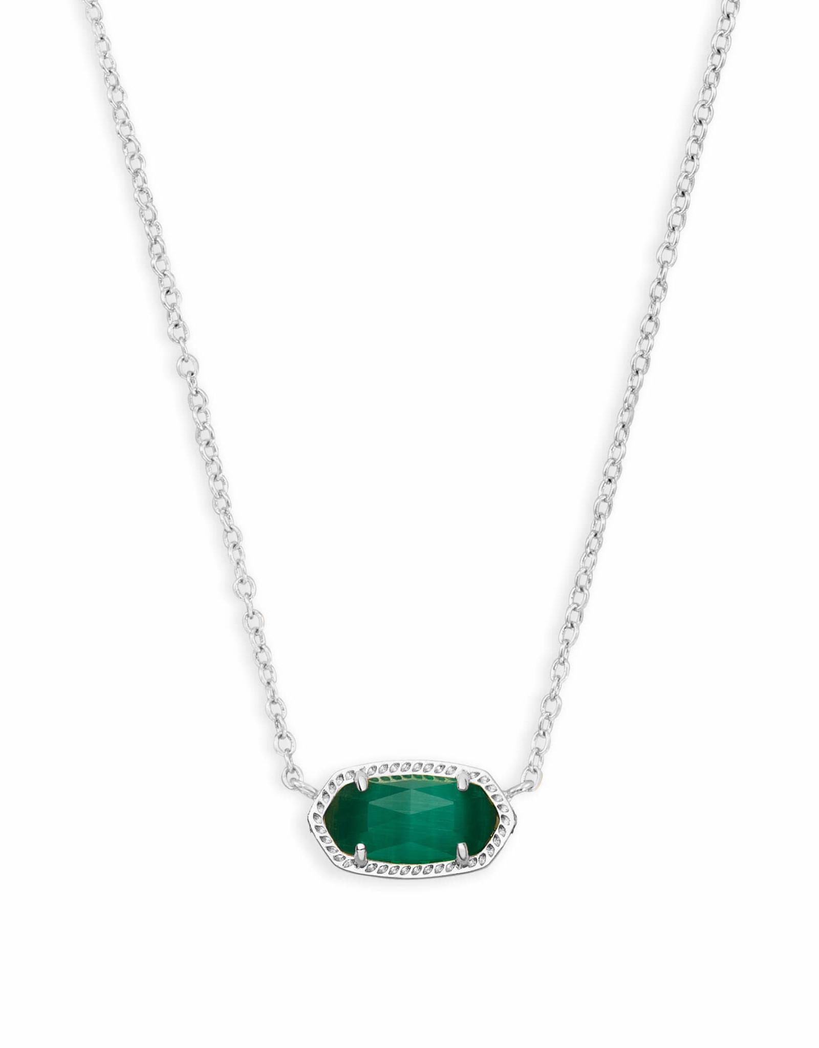 Kendra Scott Elisa Necklace - Emerald Cats Eye/Rhodium