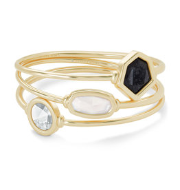 Kendra Scott Natalia Bangle Bracelet - Steel Gray Mix/Gold