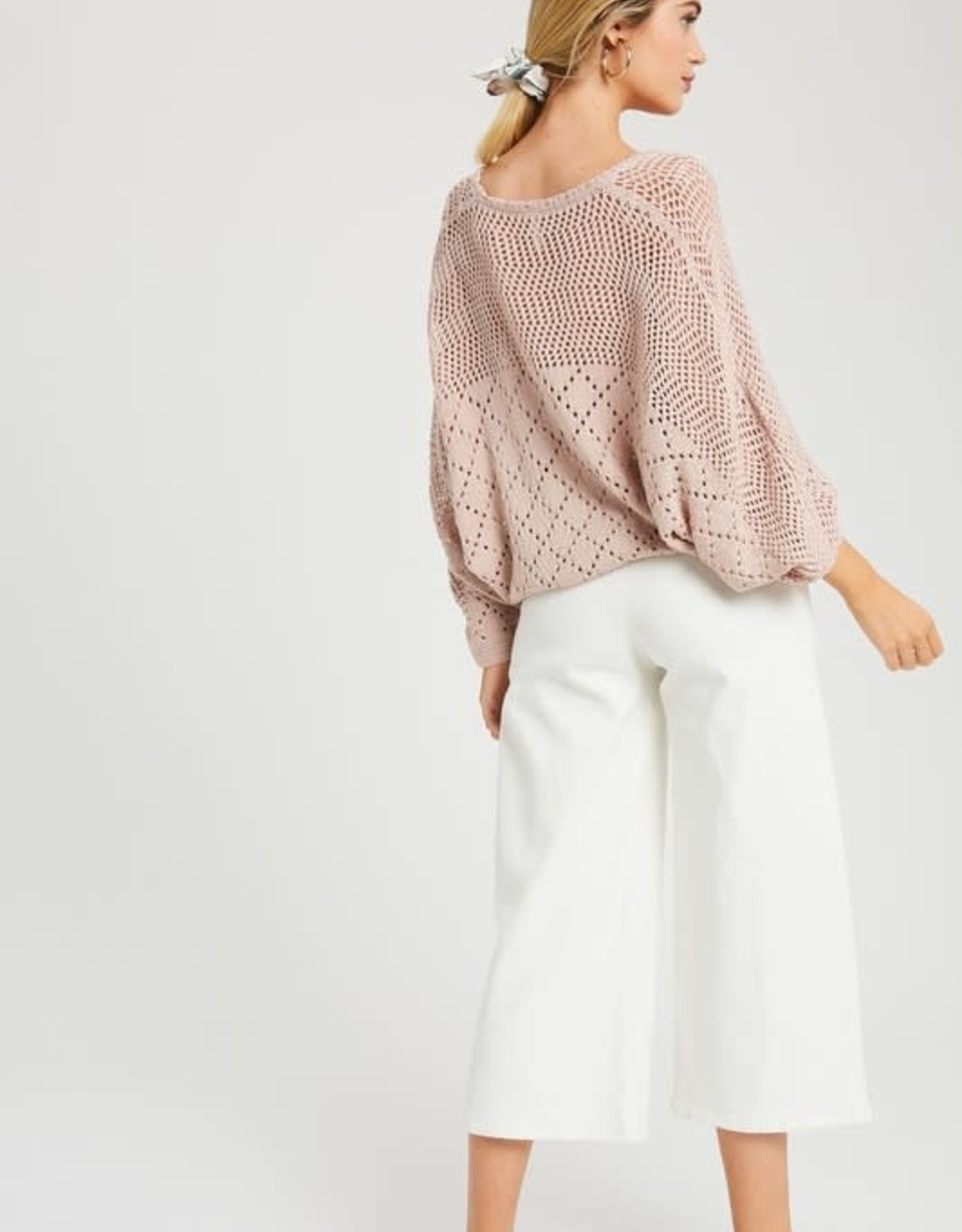 Ladies' Fashions Loose Fit Crochet Sweater