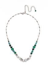 Sorrelli NDX14ASSNM - Snowy Moss Papaver Classic Line Necklace