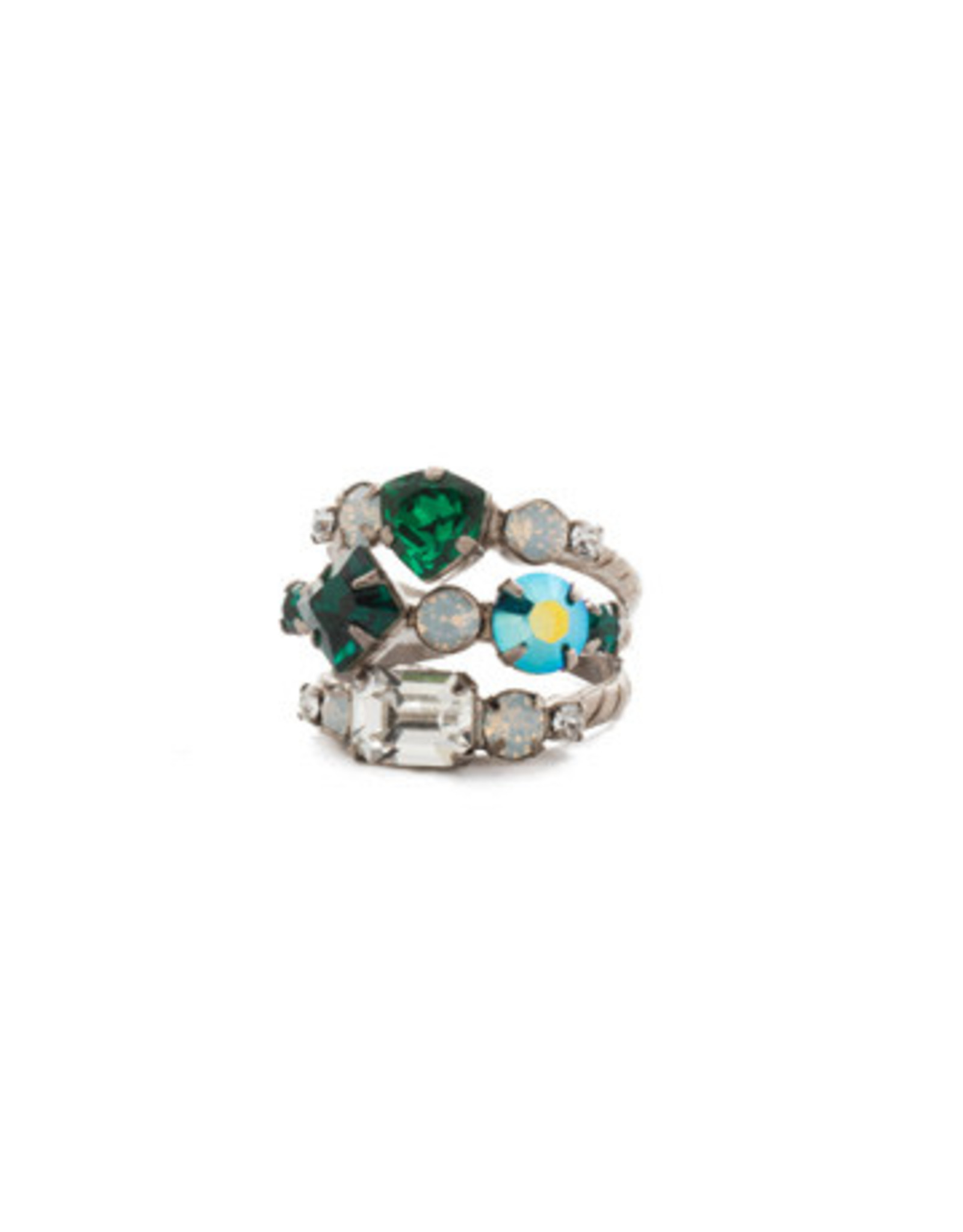 Sorrelli RDX1ASSNM - Snowy Moss Sedge Stacked Ring
