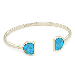 Kendra Scott Luna Cuff Bracelet - Bronze Veined Turquoise/Gold