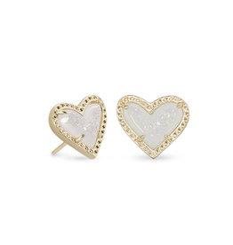 Kendra Scott Ari Heart Stud Earring - Iridescent Drusy/Gold