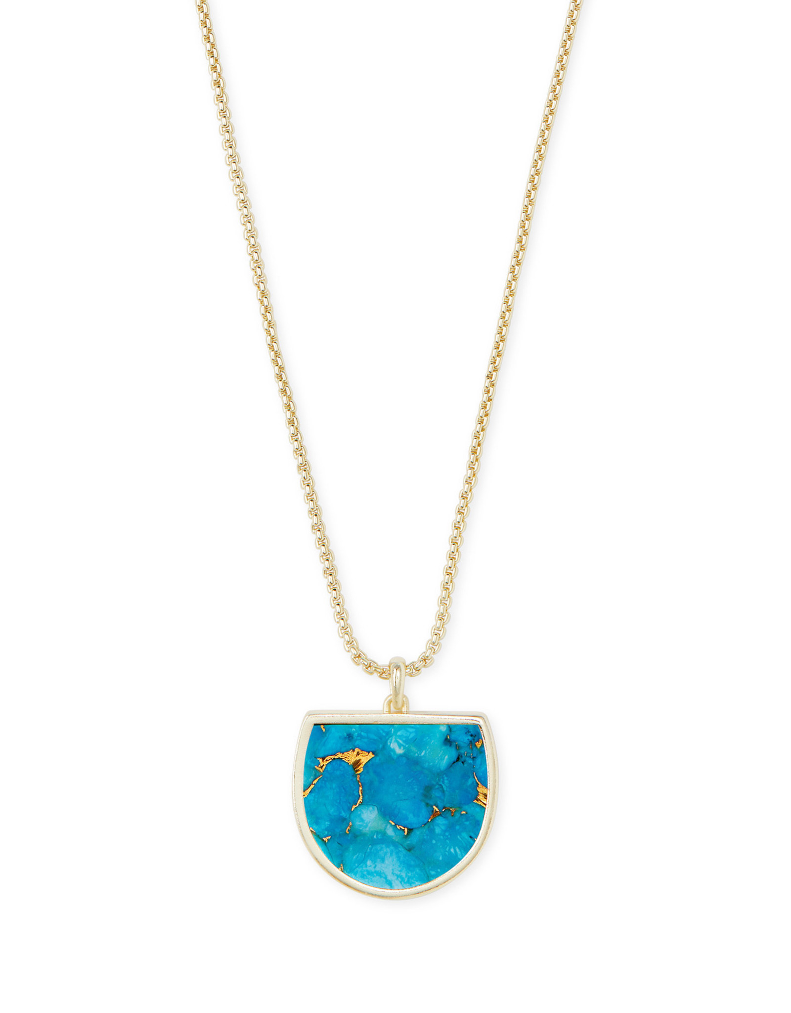 Kendra Scott Luna Pendant Necklace - Bronze Veined Turquoise/Gold