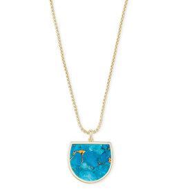 Kendra Scott Luna Pendant Necklace - Bronze Veined Turquoise/Gold