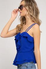 Ladies' Fashions Double Strap Cami Peplum Top