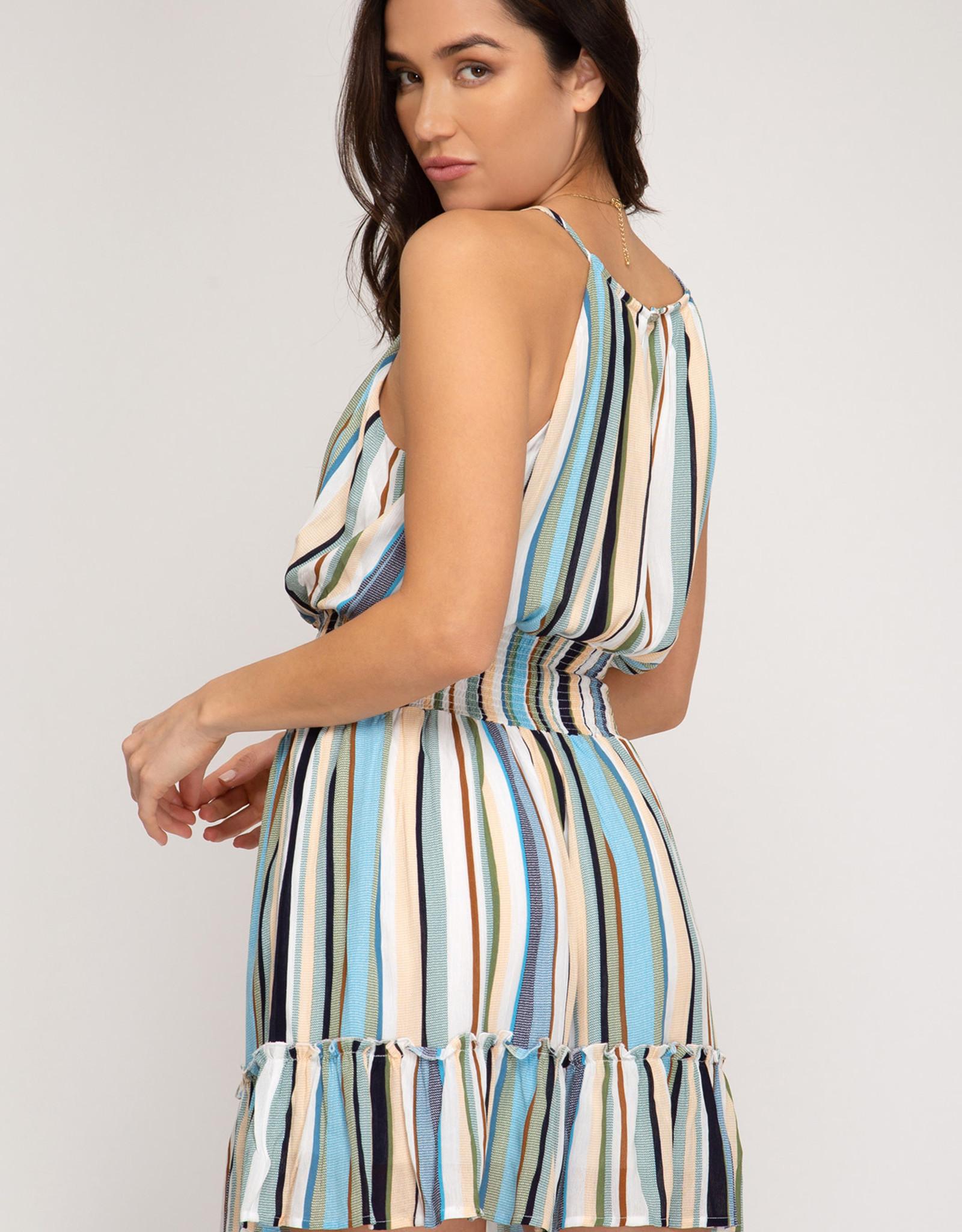 Ladies' Fashions Sleeveless Dress w/Smocked Waistband