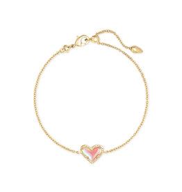 Kendra Scott Ari Heart Delicate Bracelet - Dichroic Glass/Gold