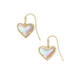 Kendra Scott Ari Heart Drop Earring - Dichroic Glass/Gold