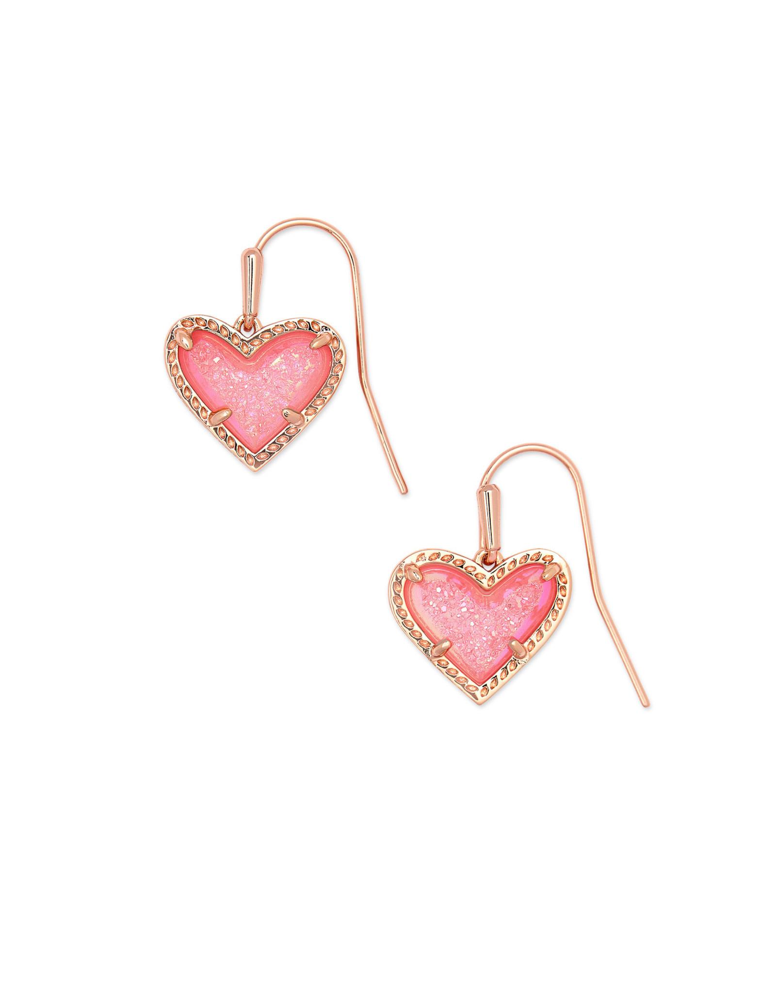 Kendra Scott Ari Heart Drop Earring - Pink Drusy/Rose Gold