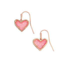 Kendra Scott Ari Heart Drop Earring - Pink Drusy/Rose Gold