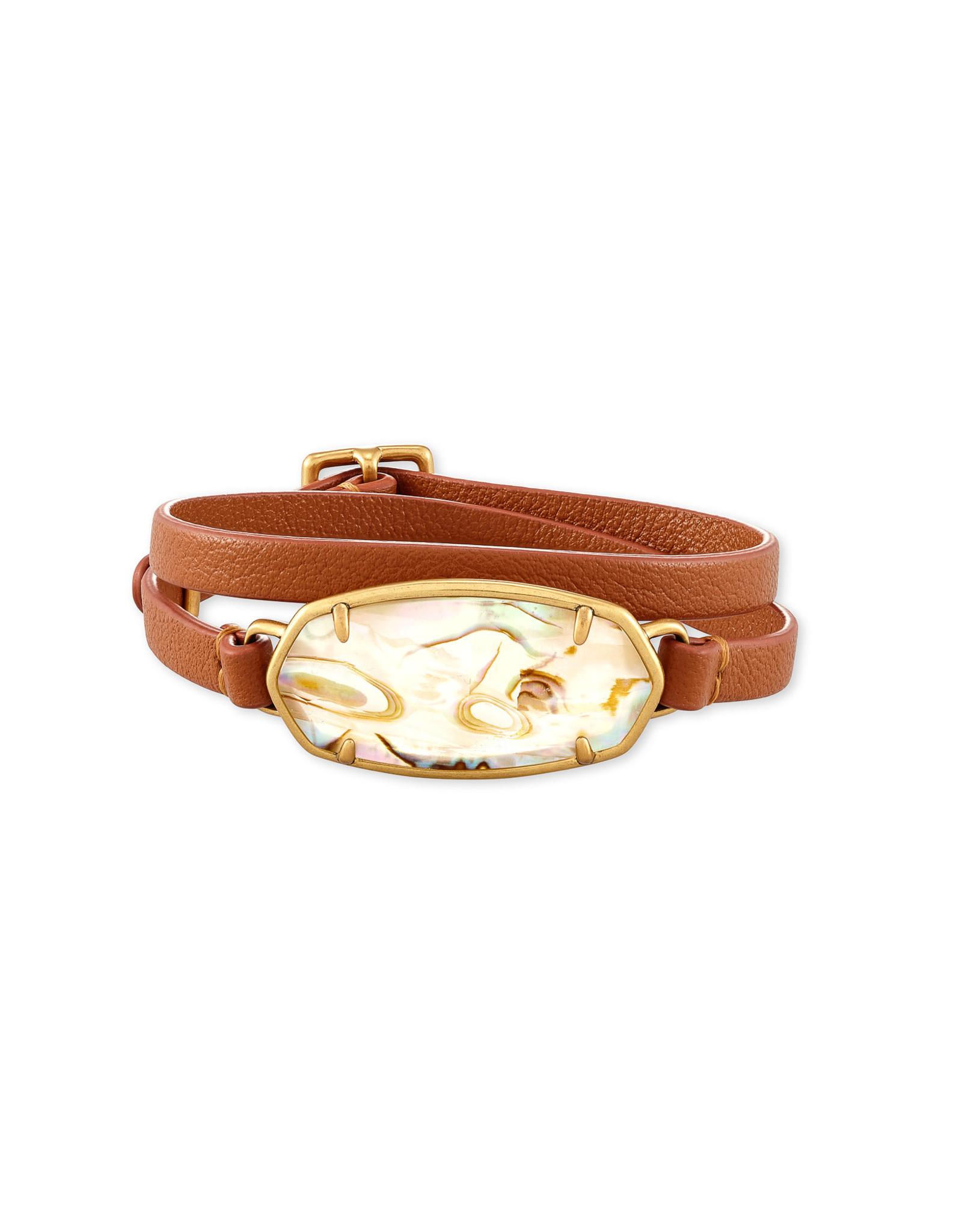 Kendra Scott Elle Leather Wrap Bracelet - White Abalone/Vintage Gold