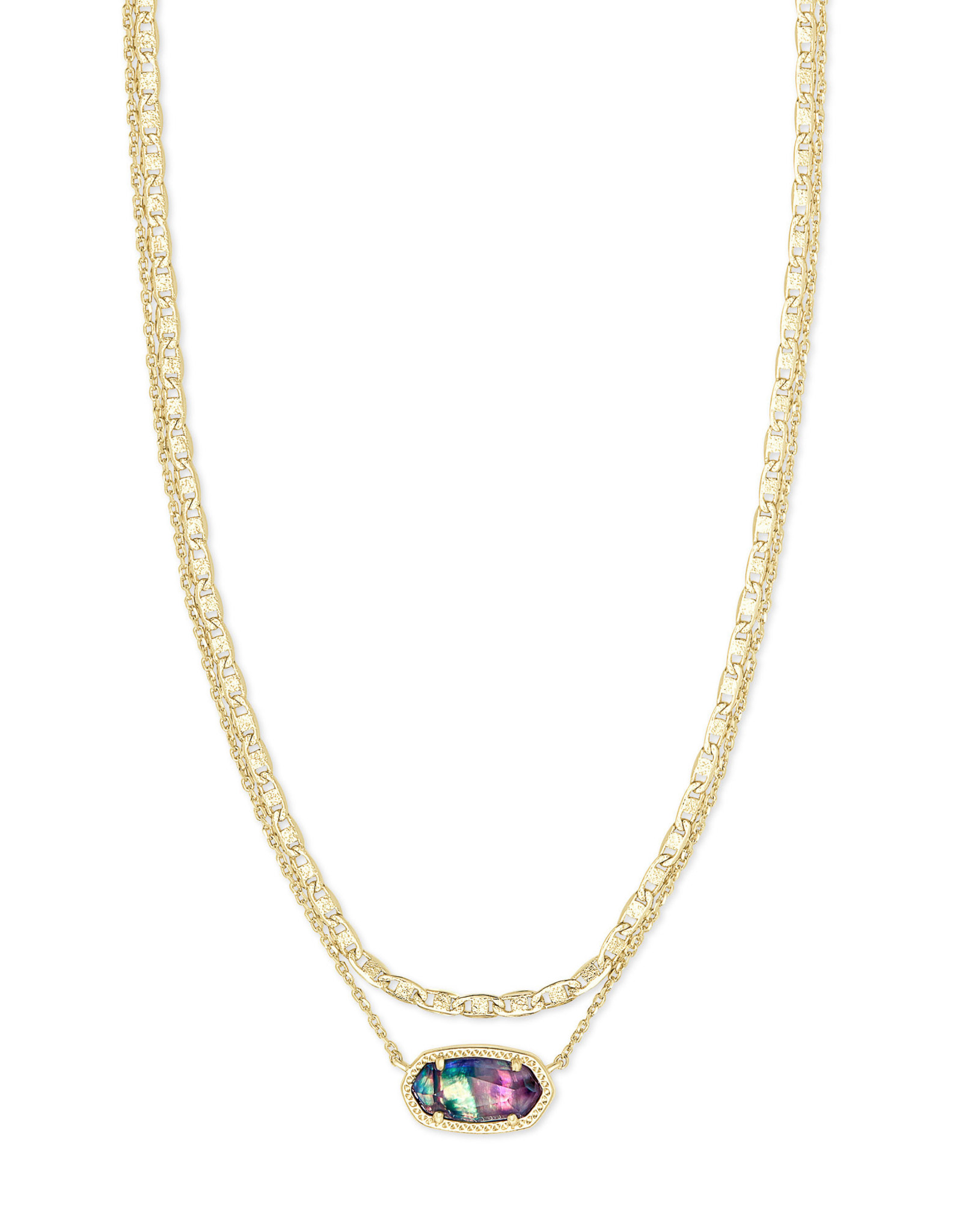 Kendra Scott Elisa Multi Strand Necklace - Lilac Abalone/Gold