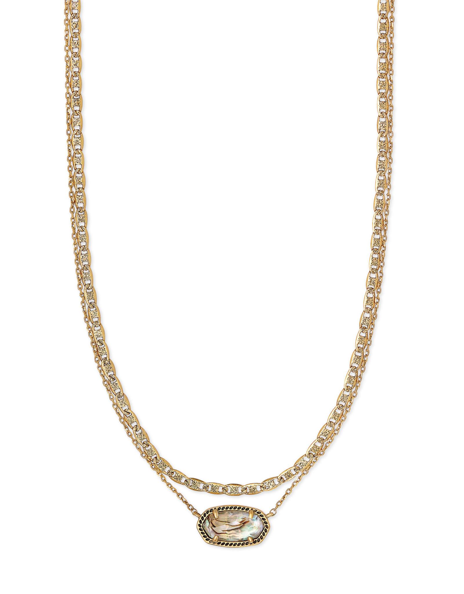 Kendra Scott Elisa Multi Strand Necklace - White Abalone/Vintage Gold