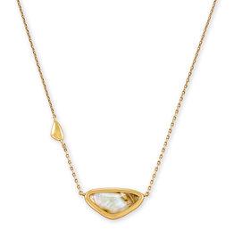 Kendra Scott Margot Short Pendant Necklace - White Abalone/Vintage Gold