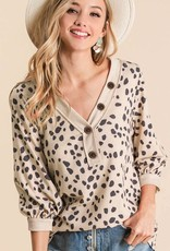 Ladies' Fashions Dalmatian Print Top w/Puff Sleeves