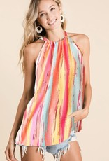 Ladies' Fashions Stripe Print Halter Neck Top