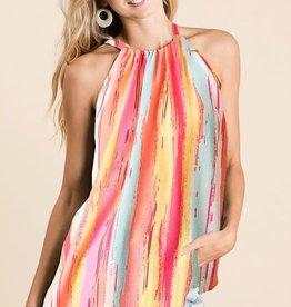Ladies' Fashions Stripe Print Halter Neck Top