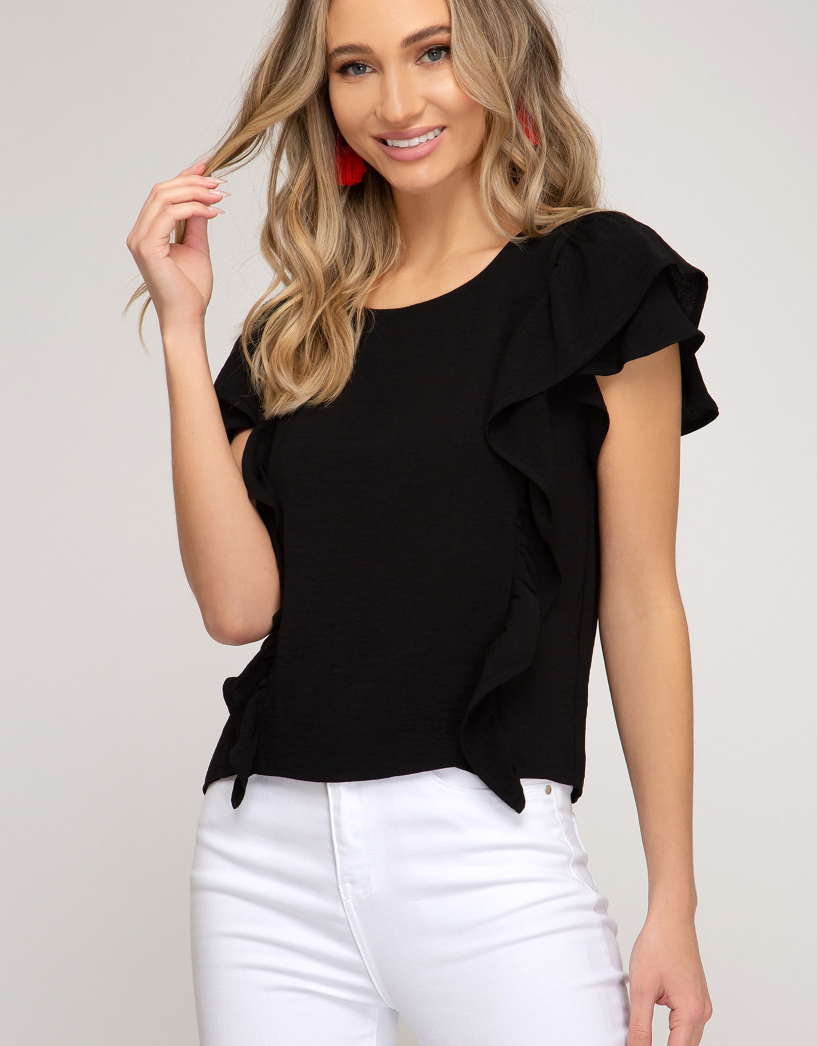 Ladies' Fashions Flutter Short Sleeve Top