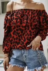 Ladies' Fashions Leopard Slash Neck Top