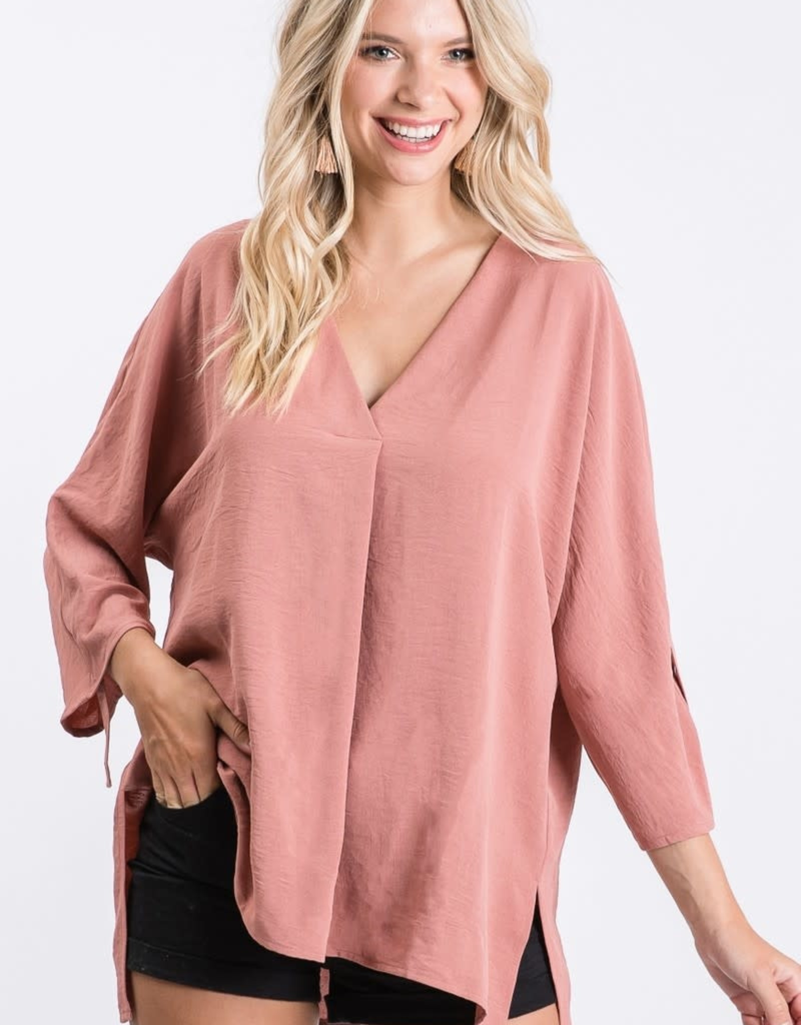 Ladies' Fashions Wide V-Neck w/ 3/4 Roll Up Sleeve