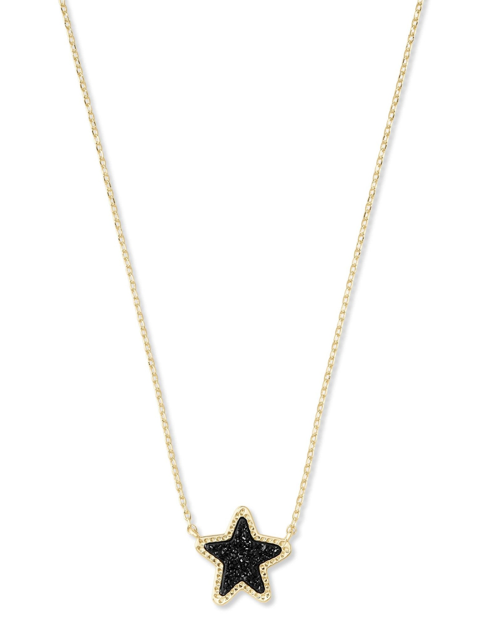 Kendra Scott Jae Star Short Pendant - Black Drusy/Gold