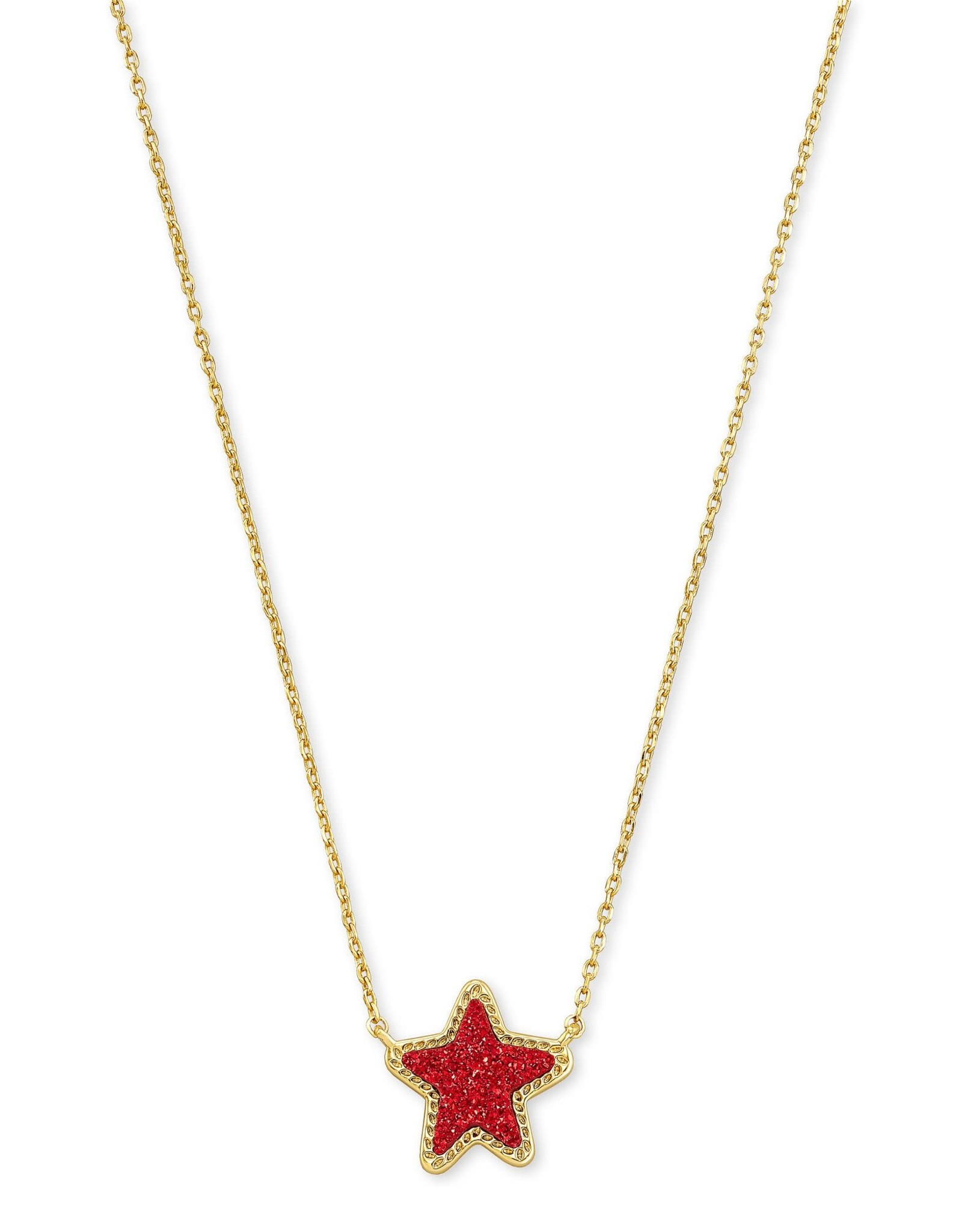 Kendra Scott Jae Star Short Pendant - Bright Red Drusy/Gold