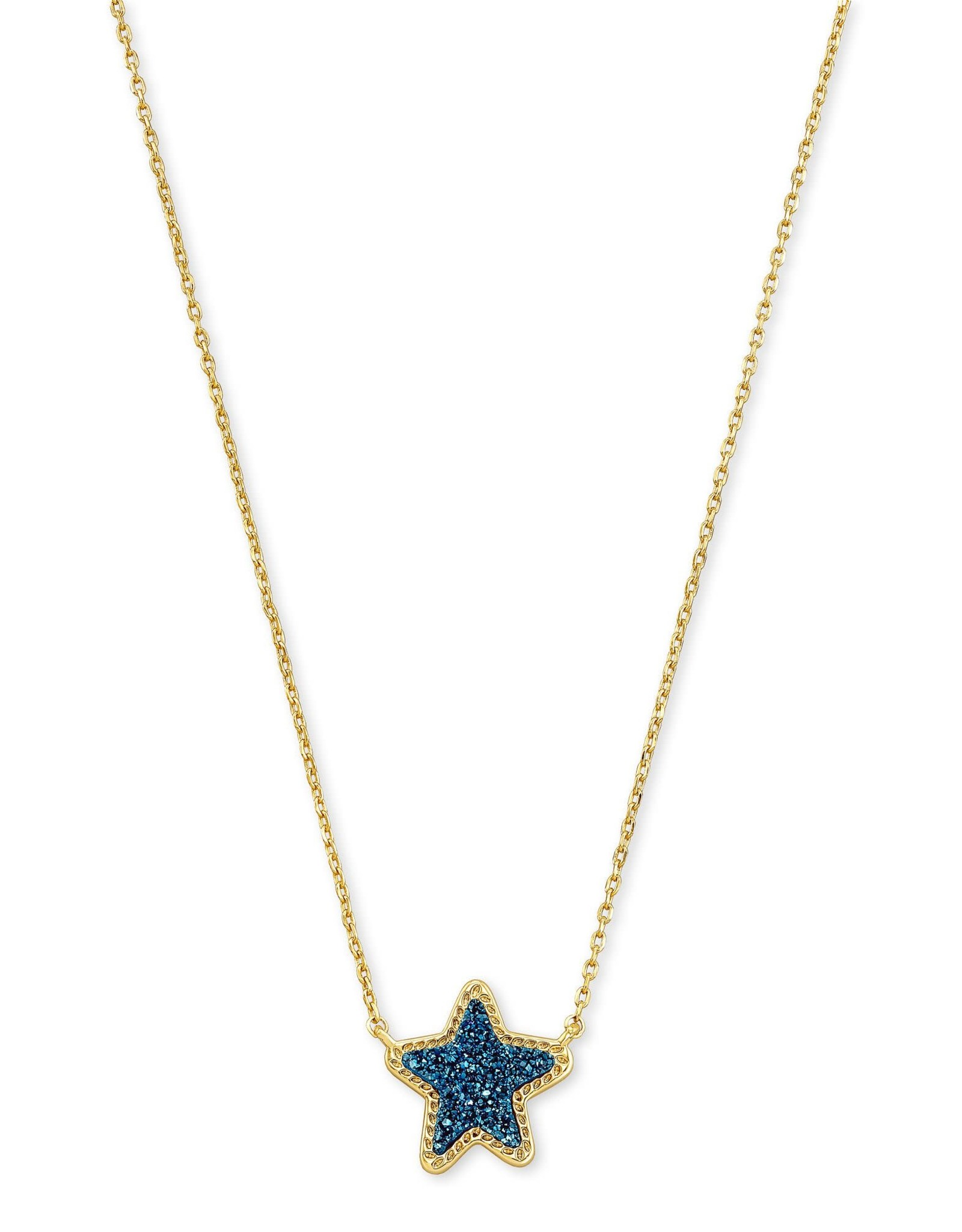 Kendra Scott Jae Star Short Pendant - Blue Drusy/Gold