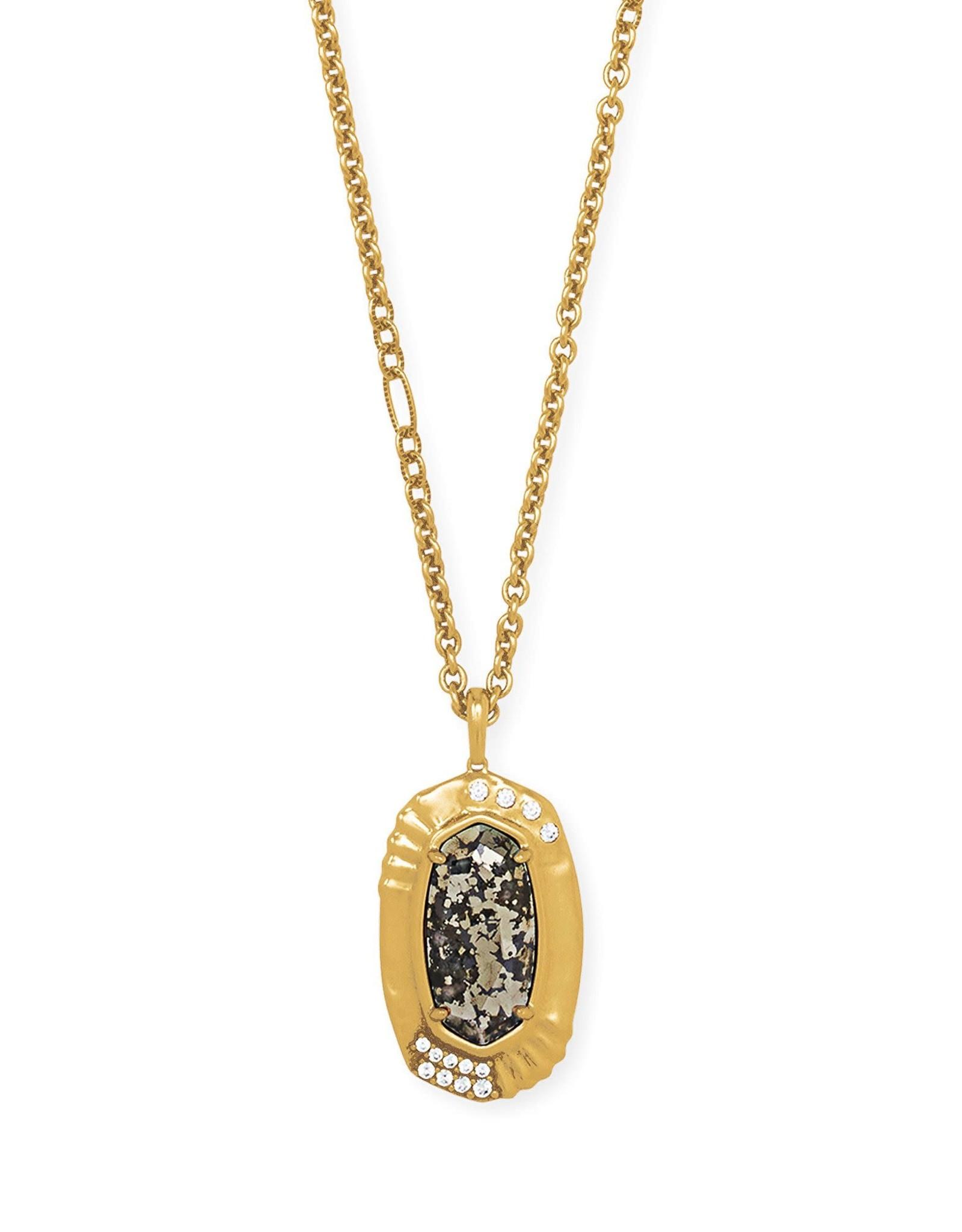 Kendra Scott Anna Long Pendant Necklace - Black Pyrite/Vintage Gold