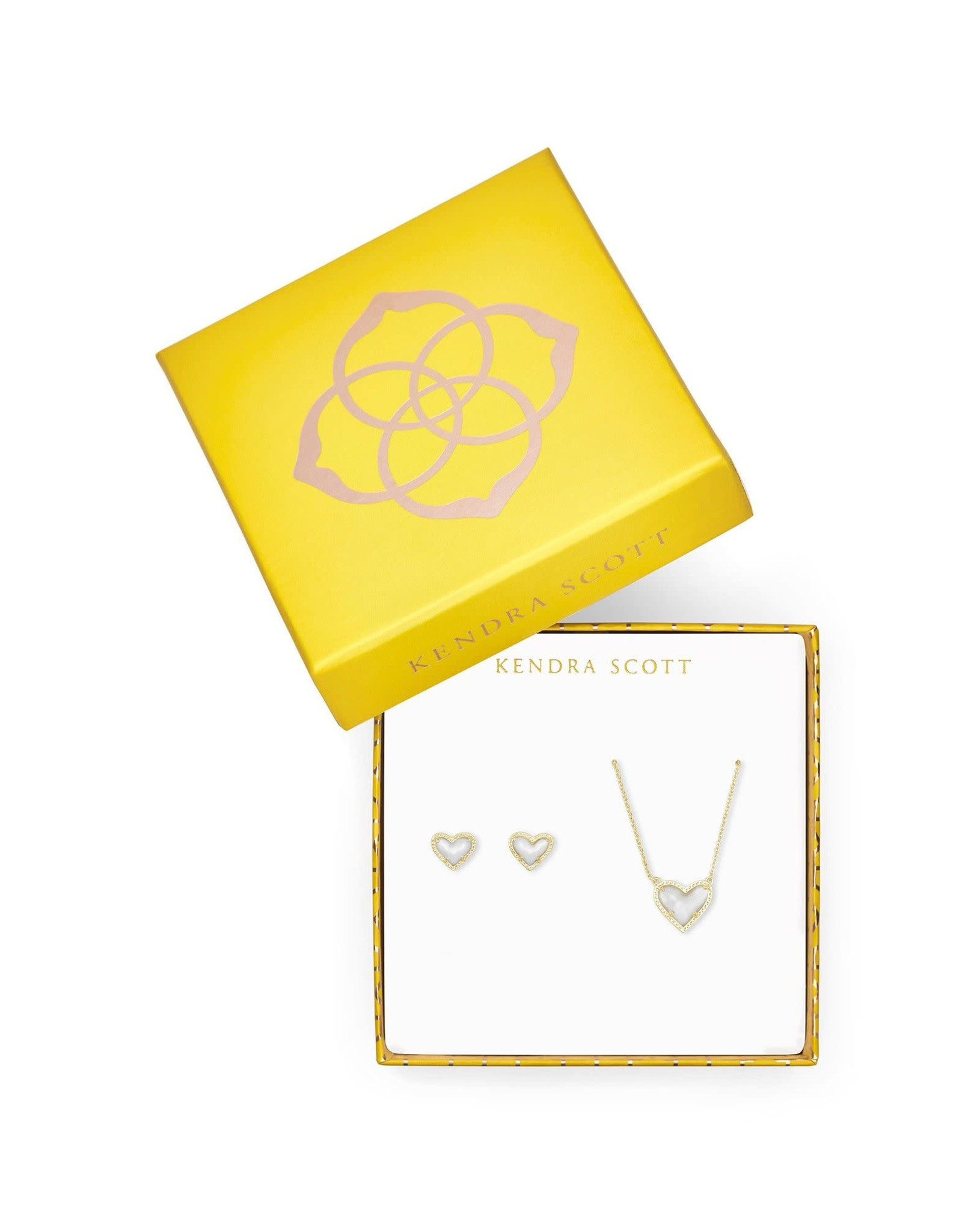 Kendra Scott 4217717912 - Ari Heart Pendant & Stud Gift Set - Ivory MOP/Gold