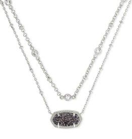Kendra Scott Elisa Multi Strand Necklace - Platinum Drusy/Rhodium